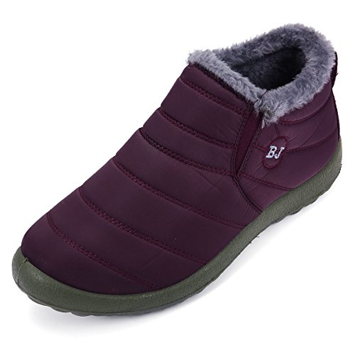 Image of gracosy Winter Snow Ankle Boots Fur Lining Waterproof Outdoor Slip On Booties Sneakers for Man and Women Red Women 8 B(M) US