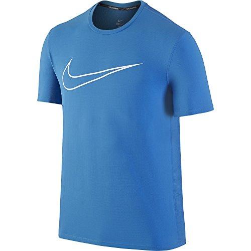 Mens Nike Dri-Fit Light Photo Blue Contour Graphic Running Fitness T-shirt (Large)