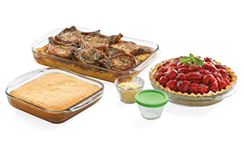 (Libbey Baker's Basics 7-Piece Glass Casserole and Bakeware Set with 4 Lids)