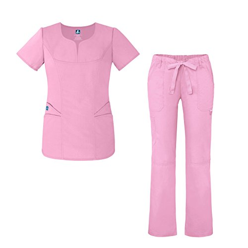 Adar Universal Women's Scrub Set – Fashion Scrub Top and Multi-Pocket Scrub Pants - 903 - Sherbet - L