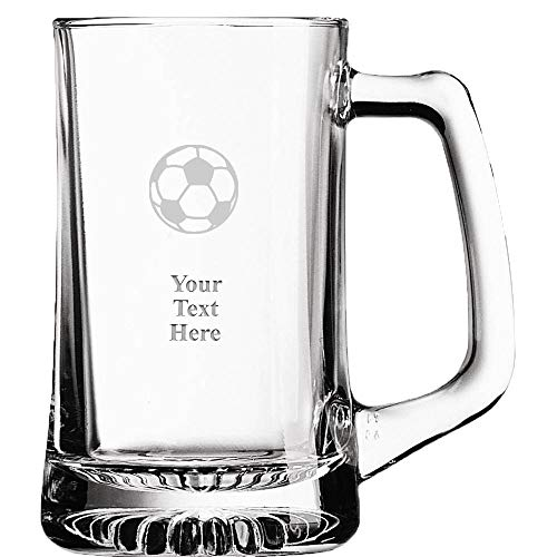 (Custom Soccer Ball Beer Glass, 16 oz Personalized Soccer Coach Beer Mug Gift With Your Own Engraving Text)