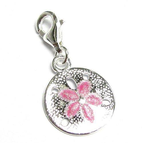 Queenberry Rose-Argent 925/1000 Pendentif fleur émail européen à Bracelet Charm avec fermoir mousqueton