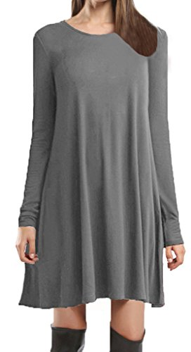 Casual Dress For Women Loose Soft Long Sleeve Plus Size T-Shirt By Ladylala Dark Grey XL