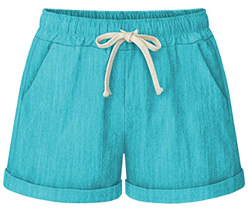 HOW'ON Women's Elastic Waist Casual Comfy Cotton Beach Shorts with Drawstring Turquoise M
