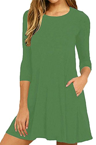 Women's Dress Swing Plain Green YMING Dress Pockets Loose Cda5wq8