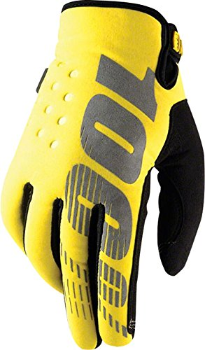 100% Brisker Gloves Neon Yellow, XL - Men's