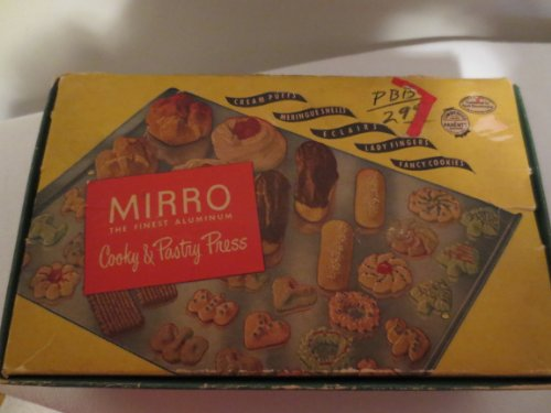 Access VINTAGE Mirro Cooky Cookie Press in Original Box w/ 12 Designs in Wood Tray, 3 Tips, recipe book -- as shown deal