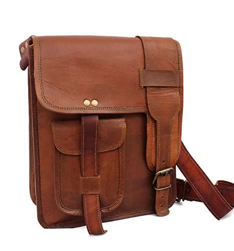 Handmade Genuine Brown Leather Cross body Satchel Shoulder Messenger Handbag 9x11 inch