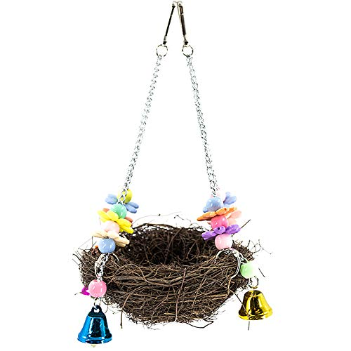 YINGGE Bird Rattan Nest Toy with Bells, Parrot Chewing Climbing Hanging Swing for Parakeets, Cockatiels, Lovebirds…
