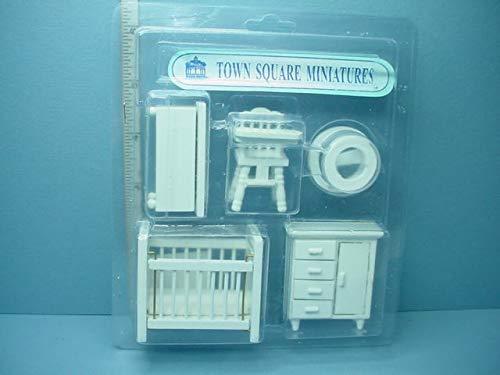- Dollhouse Miniature Nursery Set #T0226 - 5 Piece - 1/2'' (1/24) Scale Town Sq