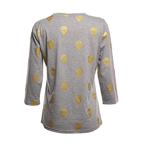longues très Skull estampé blanc à Zhrui Shirt manches T couleur shirt Gris grand Halloween Top XWwHgq