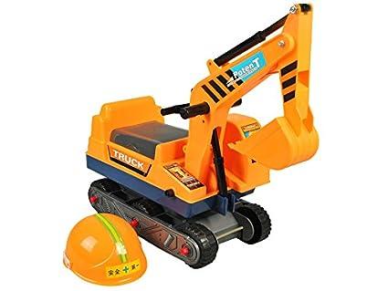 Iso Trade Sitzbagger Kinderbagger Rutscher + Helm Bagger Rutschbagger Sandbagger #2897