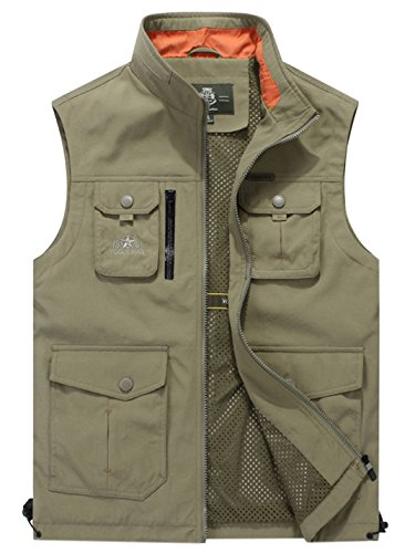 Gihuo Men's Lightweight Quick Dry Outdoor Multi Pockets Fishing Vest (X-Large, Khaki)