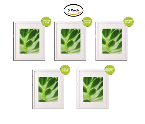 "PACK OF 5 - Better Homes and Gardens White Picture Frame, 11x14"" matted to 8x10"""