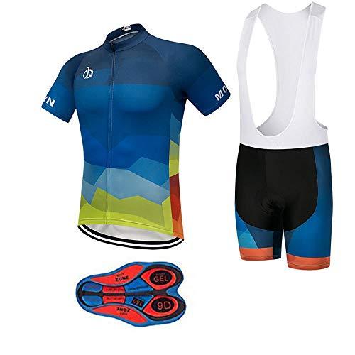 Men's Bike Clothing Set Cycling Jerseys Road Bicycle Shirts Kit + Bib Shorts Quick-Dry Full Zipper Riding Clothes ()
