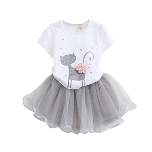 Weixinbuy Kids Girls Dresses Little Cat Printed Shirt + Tulle Skirt Clothing Set by Weixinbuy