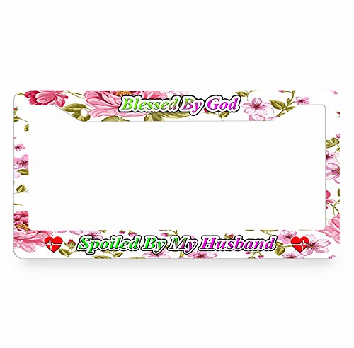 Nuoyizo Blessed By God Spoiled By My Husband License Plate Frame Flower License Plate Cover Heart Auto Tag Holder Personalized Car Tag Frame Novelty Car Tag Holder Plastic