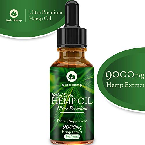 Hemp Oil Drops 9 000mg, 100% Pure Natural Ingredients, Co2 Extracted, Helps Cope With Anxiety and Pain, Promotes Relaxation, Vegan Vegetarian Friendly