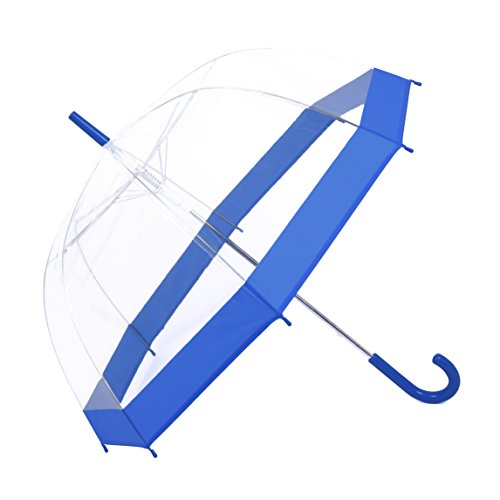 Rainbrace Clear Bubble Umbrella Auto Open Upgraded Version With Reinforced Fibergrass Ribs, Transparent Clear Dome Shape for Women And Kids(Blue) (Clear Blues Shape)