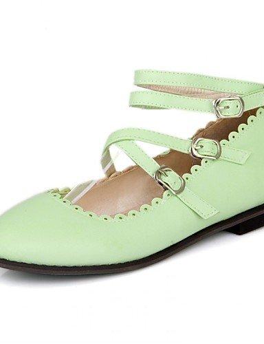 Flats 5 5 verde plano Mary almendra uk8 talón almond zapatos rojo negro de eu42 piel sintética vestido casual mujer PDX us10 cn43 de fnzqq1