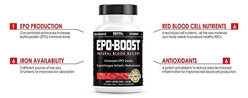 EPO-Boost Natural Blood Builder Sports Supplement. RBC Booster with Echinacea Dandelion Root for Increased VO2 Max, Energy, Endurance 3 Pack