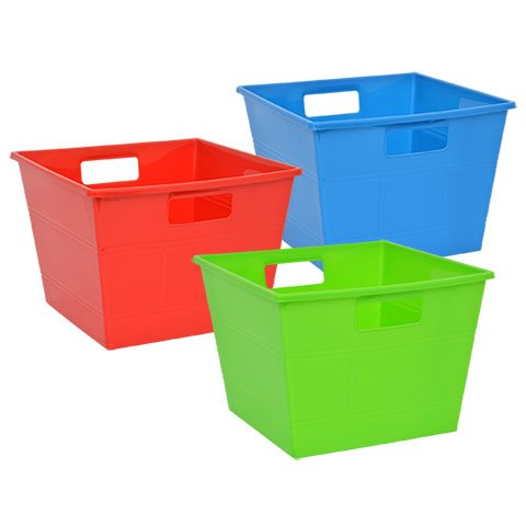 Plastic Locker Bins with Handles Storage Bin Book Bins for Classroom Organization Tub for Shelves Colorful Containers for Organizing Toys Square Dry-Erase 3 Pack Set of 3 Red, Green and Blue by Locker bins (Image #1)'