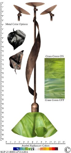 Jezebel Radiance® Sweetgrass Pendant. Hardware: Brown with Brown Highlights. Glass: Grass Green, Lily Style