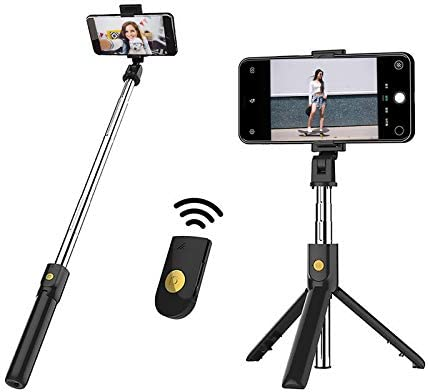 Selfie Stick Tripod, UPXON Bluetooth Wireless Remote Shutter Tripod, Mini Extendable Aluminum Cell Phone Stand, 270° Rotation Portable Tripod Compatible with iPhone and Android Smartphone