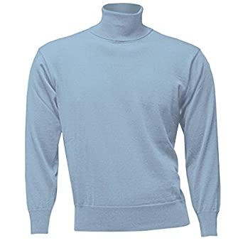 Mens Light Blue Wool Polo Neck Sweater -Roll Neck - New: Amazon.co ...