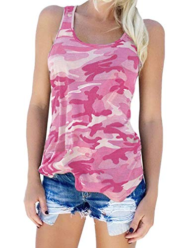 (Zcavy Teens Girls Summer Tank Tops Camouflage Racerback Tee Shirts Everyday Active Wear Stretchy Easy Fit Clothes Pink XL )