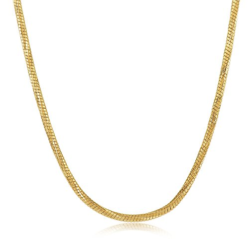 14k Gold Plated Snake Chain (The Bling Factory 1.5mm 14k Gold Plated Snake Chain Necklace, 16