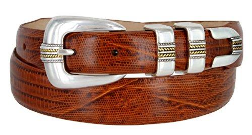 (Men's Gold Norris Italian Calfskin Leather Designer Dress Golf Belt (Lizard Tan,42))