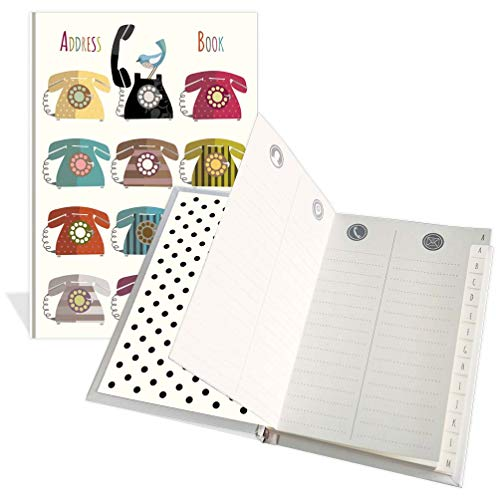 Luxury Pocket Address Book - Tweeter & Telephones Design- 104 Pages - Size 91mm x 130mm ()