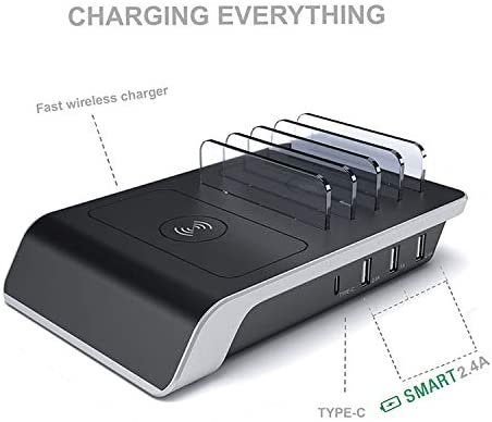 Samsung Smartphone Kindle iPhone and More Wireless Multi-Device Charging Station USB Type-C Multi Port Desktop Organizer with Power Ports for iPad Tablet Quick Set-up and Easy to Use