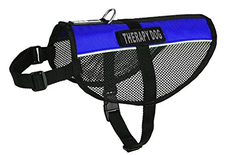 Dogline MaxAire Multi-Purpose Mesh Vest for Dogs and 2 Removable Therapy Dog Patches, Medium, Blue from Dogline