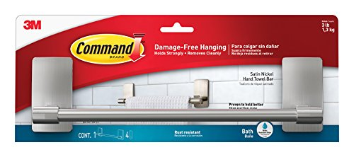 Command BATH41-SN-ES 076308731892 Damage-Free Hand Towel Bar, 1, Satin Nickel
