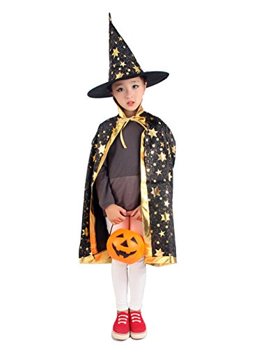 Kids Halloween Role Play Costumes Star Pattern Printed Witch Cape with Hat (Star Cape)
