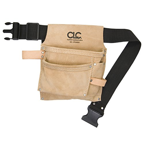 CLC Custom Leathercraft IP489X 3 Pocket Suede Tool Bag with Poly Web Belt