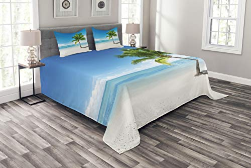 Bed King Island (Ambesonne Landscape Bedspread Set King Size, Caribbean Maldives Beach Island Sea Ocean Palm Trees Artwork Print, 3 Piece Decorative Quilted Coverlet with 2 Pillow Shams, Sky Blue)