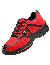 Zapatos de seguridad para hombre y mujer, zapatos de trabajo, transpirables, deportivos, antideslizantes, de acero, zapatos de protección industrial y de construcción,  Rojo, 7.5 M US