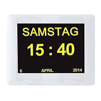 Día de calendario digital reloj | Alzheimeruhr | Seniorenuhr | Reloj para personas invidentes: Amazon.es: Electrónica