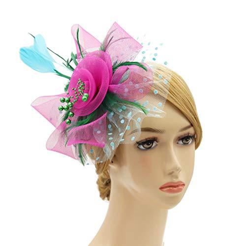 Wheebo Fascinator Hat Flower Feather Mesh Veil Wedding Tea Party Derby Cocktail Hat Headwear for Women Lady Girls (A-GRA)