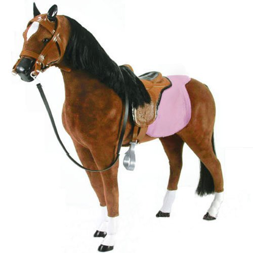 19 Inch Horse for Dolls, Brown Horse and Saddle by Sophia's, Perfect fit for 18 Inch Dolls like American Girl