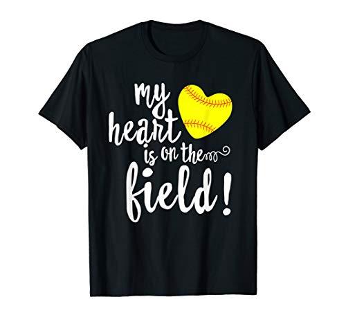 My Heart is on That Field Baseball T-Shirt Softball Mom ()