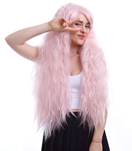 Nuoqi Sweet Girls Rhapsody in Pink Curly Wave Cosplay Hair Wig