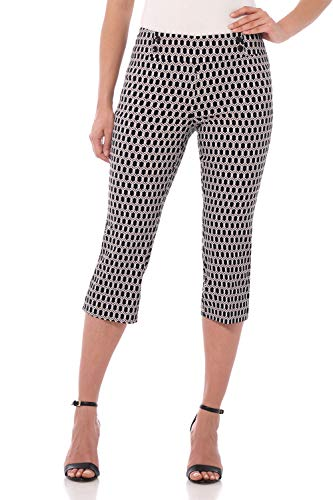 (Rekucci Women's Ease in to Comfort Fit Capri with Button Detail (16SHORT,Black/White Geo Chain))