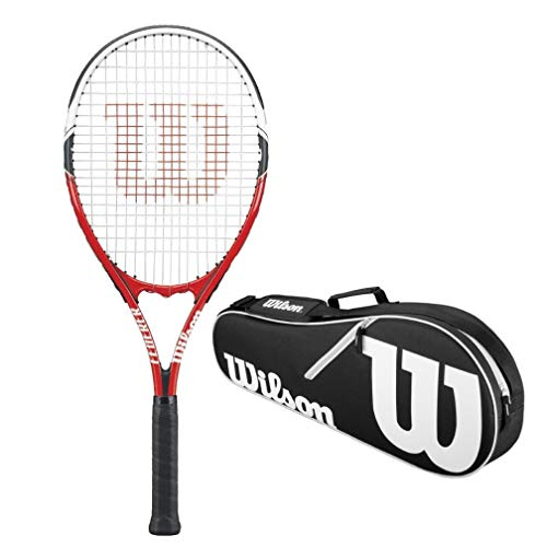 (Wilson Federer White / Red / Black Adult Strung Recreational Tennis Racquet (Oversize or Midplus) St Wilso)