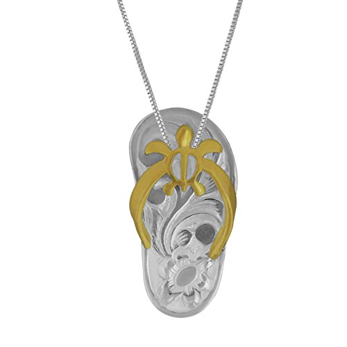 Sterling Silver with 14kt Yellow Gold Plated Accents Turtle Flip Flop Pendant Necklace, 16+2