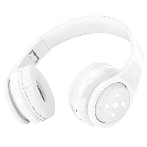 Wireless Bluetooth Headphones for Kids Boys Girls Over Ear,Built-in Mic,Stereo Sound ,3.5mm Audio Jack Cable for Pc Tablet Cellphone(White)