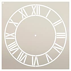 Country Home Clock Face Stencil by StudioR12 | Roman Numerals Clock Art - Reusable Mylar Template | Painting, Chalk, Mixed Media | DIY Decor - STCL2332 - Select Size (12 Diameter)